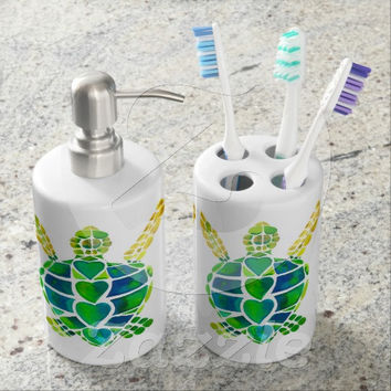 Decorative Toothbrush Holder And Soap Dispenser Set Sea Turtle Love Design Watercolor Colorful