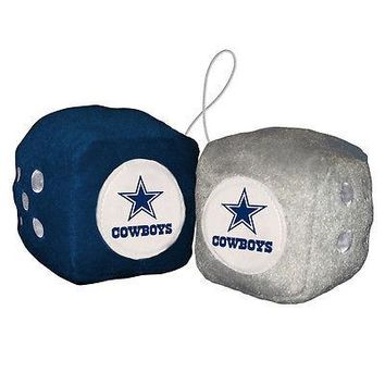 "Dallas Cowboys Fuzzy Dice NFL High Quality PLUSH 3"" Car Auto Truck"