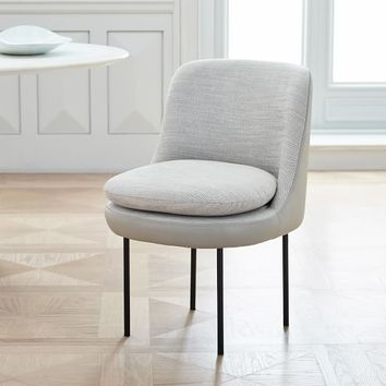 Modern Curved Leather Back Dining Chair