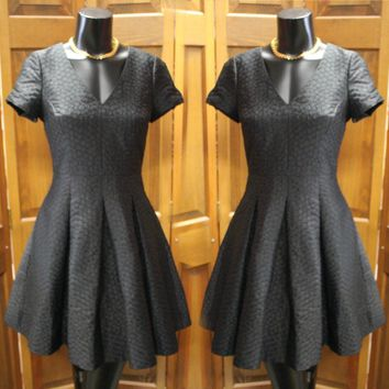 Wome's Black Fit & Flare Textured Dress
