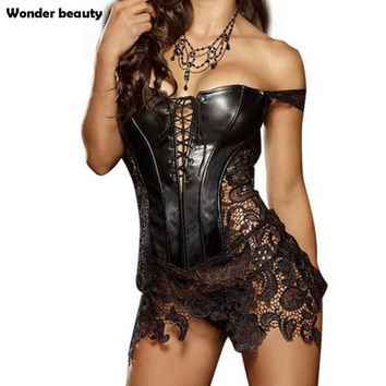 Wonder Beauty Hot Club Dress Women Sexy Clubwear Plus Size Hollow Out Leather Corset Dress Lace Embroidery Zip Back Dresses