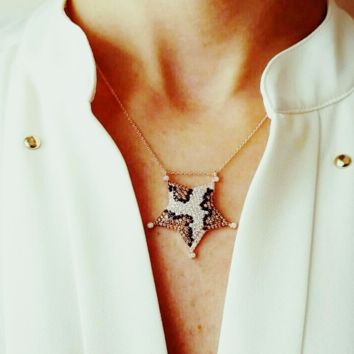 Solid 925 Sterling Silver Zirconia Sheriff Star Necklace