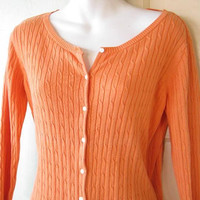 Melon Orange Twinset:  Women's Small-Medium Cabled Orange Cardigan w/ Tank Top; Classic Sweater Set; U.S. Shipping Included