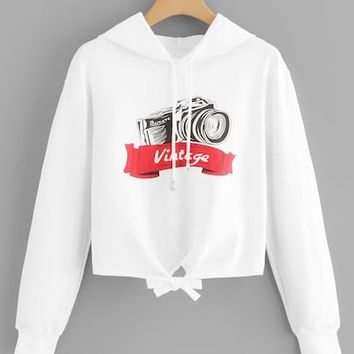 Letter Print Knot Hoodie