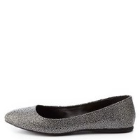 Crushed Stud Ballet Flats by Charlotte Russe - Silver Combo