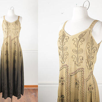 1990s Boho Maxi Dress / Vintage 90s Peasant Dress / Festival Dress / Boho Chic Soft Grunge Dress / Romantic Long Dress / Indian Rayon Hippie