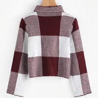 High Neck Gingham Crop SweaterFor Women-romwe