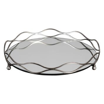 Rachele Round Mirrored Silver Tray by Uttermost