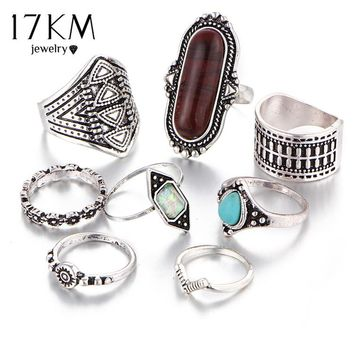 Boho Jewelry Stone Midi Ring Anel Vintage Tibetan Turkish Silver Color Flower Knuckle Rings Gift 8pcs/