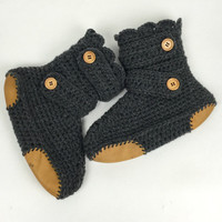 Women's Crochet Dark Gray Slipper Boots with Leather Soles, Crochet Slippers, Ankle Booties, Knitted House Shoes, Dark Grey Slipper Boot