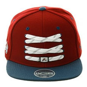 2Tone Skate Lacer Colorado Avalanche Snapback Hat by Zephyr - Maroon, Light Blue | Hat Club