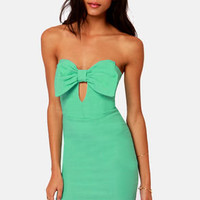 Bow Down Strapless Mint Green Dress