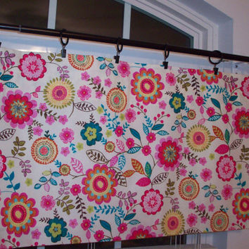 Custom Boutique Fuschia/Turquoise/light pink beige Lined CurtainValance-for Kitchen, Bath, Laundry, Bedroom, living room-Window Treatment