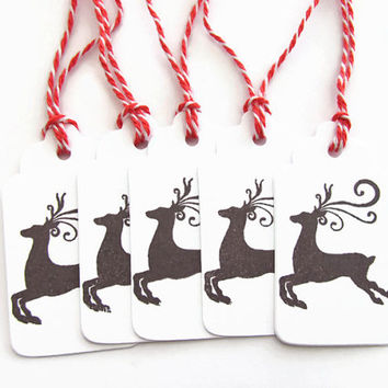 Reindeer Gift Tags, set of 5, Christmas Tags, Favor Treat Tags