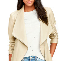 BB Dakota Carmen Beige Vegan Leather Jacket