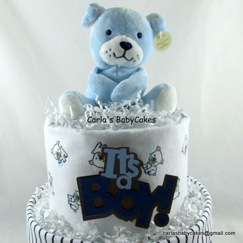 Boy Diaper Cake,Blue Diaper Cake,Baby Diaper Cake boy,New Mom Gift,Baby Shower Decoration,New Baby Gift,Baby Shower Gift, Puppy Diaper Cake