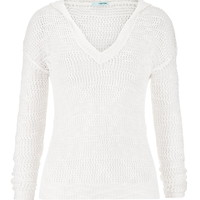 Open Stitch High-Low Hooded Pullover - White