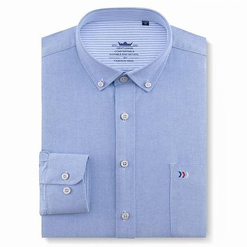 Men's Regular-fit Solid Oxford Cotton Dress Shirts Patch Single Pocket Long Sleeve Casual Male Workwear Button-collar Tops Shirt