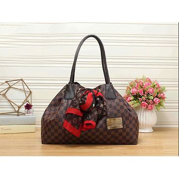 LV Trending Women Stylish Leather Tote Handbag Shoulder Bag Luggage Travel Bag Coffee Tartan I-KR-PJ