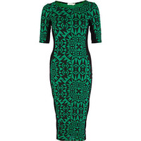 Green geometric print panel column dress