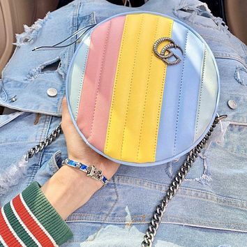 Gucci 2020 new Marmont macarons round cake bag Rainbow Color