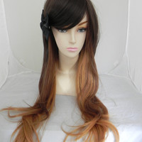 SHOP-WIDE SALE Chocolate Ombre / Long Straight Layered Wig Three Toned Ombre