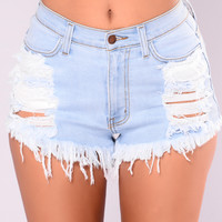 Keep It Up Denim Shorts - Light Blue