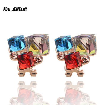 Fashion Sapphire Crystal Stud Earrings for Women Summer Style New Brand 3 Square Rose Gold Plated Wedding Earrings Clip Jewelry