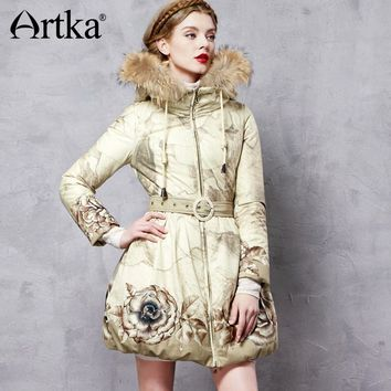 Artka Hooded Parka Floral Women's Duck Down Coat 2017 Raccoon Fur Down Jacket Raincoat Women's Long Overcoat With Belt ZK11063D