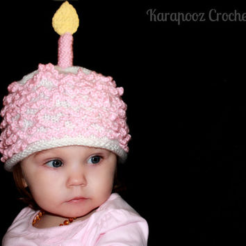 First Birthday Knitted Hat with Candle,white with pink frosting, can be made to order in blue or neutral color, baby photography