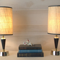 Pair of Retro Accent Lamps, Mid Century Lamps with Original Shades, Atomic Accent Lamps