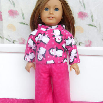 Penguin Doll Pajamas, Pink Flannel Pajamas with Penguins, Doll Pyjamas, Winter Doll Clothes, fits 18 Inch Dolls such as American Girl