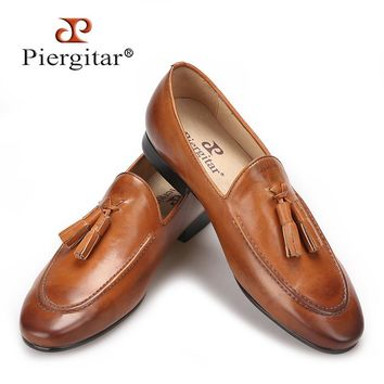 Piergitar Brown colors men genuine leather shoes with leather tassel loafers