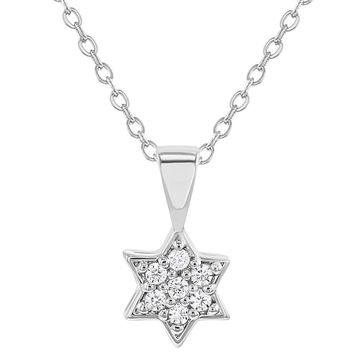 Rhodium Plated Clear Cubic Zirconia Star of David Children's Pendant Necklace 16""