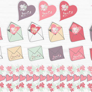 Love Mail Valentine Hearts clip art and digital paper, candy colors, hand drawn commercial use digital elements, download
