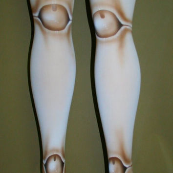 white old fashioned- 2 sided ball joint doll tights  lolita tights BJD ball joint tights