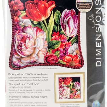"""14""""X14"""" Stitched In Thread Bouquet On Black Needlepoint Kit"""