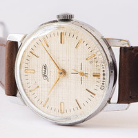 Men's wristwatch ZIM white cream ornamented face watch dark brown leather watch
