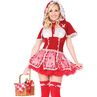 Attractiv Lovely Red Ruffer Lace Lycra Lint Grenadine With Cap And Thong Maid Costume. [TML0861] - $40.00 : Zentai, Sexy Lingerie, Zentai Suit, Chemise