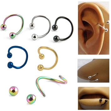 5PCS Helix Piercing Stainless Steel Nose Open Hoop Ring Ear Bones Nails Lip Nails Earring Body Piercing Studs Jewelry 03B0161