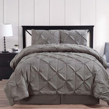 Gray Oxford Double Needle Luxury Soft Pinch Pleated