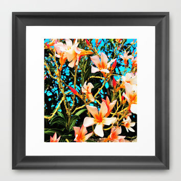 Flowers on Fire Framed Art Print by Yuval Ozery