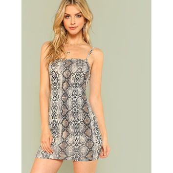 Form Fitted Snakeskin Cami Dress