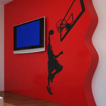Vinyl Wall Decal Sticker Basketball Jump #5082