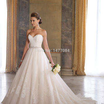 Vintage Sweetheart Applique Beaded Women Ball Gowns Wedding Dresses 2015 Tulle Bridal Gowns Backless