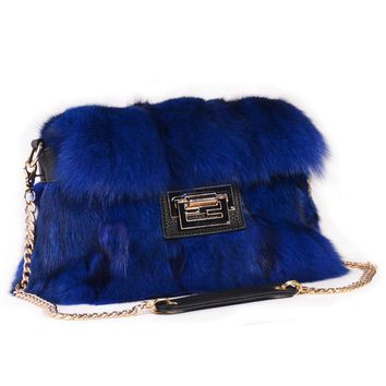 Real fox fur handbags bag comes in 4 colors all patchwork