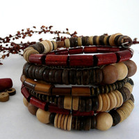 Wooden Beaded Wrap Cuff Stack Memory Bracelet Free Worldwide Shipping