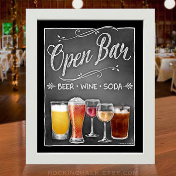 Open Bar/Cash Combo Sign | Illustrated Vintage Chalkboard Style Sign reads: Open Bar - Beer • Wine • Soda - Cash for Mixed Drinks