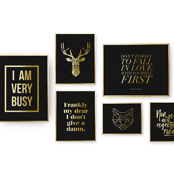 SET of 6 Prints, I Am Very Busy Print, Geometric Animal Poster, Bedroom Decor, Real Gold Foil Print, Home Decor, Typography Wall Art,