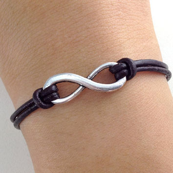 infinity, infinity bracelet, Karma, antique silver karma bracelet, infinity wish brown leather bracelet, SALE